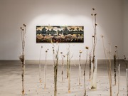 Jernej Forbici, Daisyworld, acrylic and oil on canvas, plants, bees, epoxi resin, exhibition view, 2